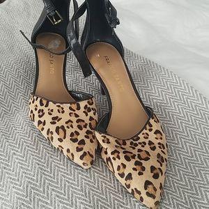 Brand New Franco Sarto Leopard Print Calf Fur Heel